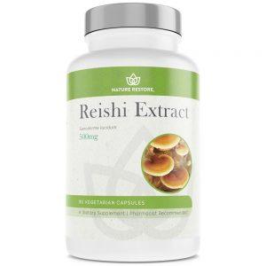 Bottle of reishi capsules