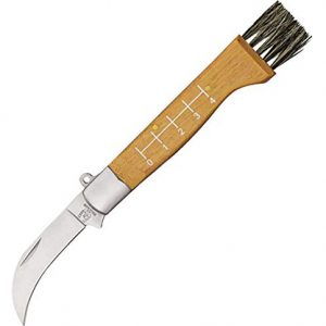 Folding mushroom knife with wooden handle and a brush end