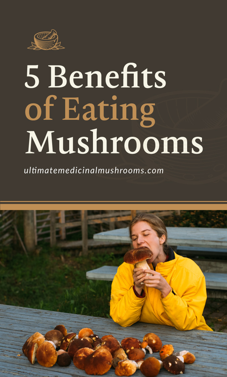 """Text area which says """"5 Benefits of Eating Mushrooms , ultimatemedicinalmushrooms.com"""" followed by a photo of a person pretending to eat raw mushrooms"""