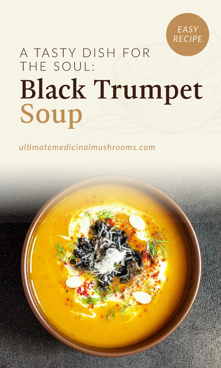 """Text area which says """"A Tasty Dish For The Soul: Black Trumpet Soups, ultimatemedicinalmushrooms.com"""" followed by a photo of a bowl of squash soup topped with black trumpet mushrooms"""