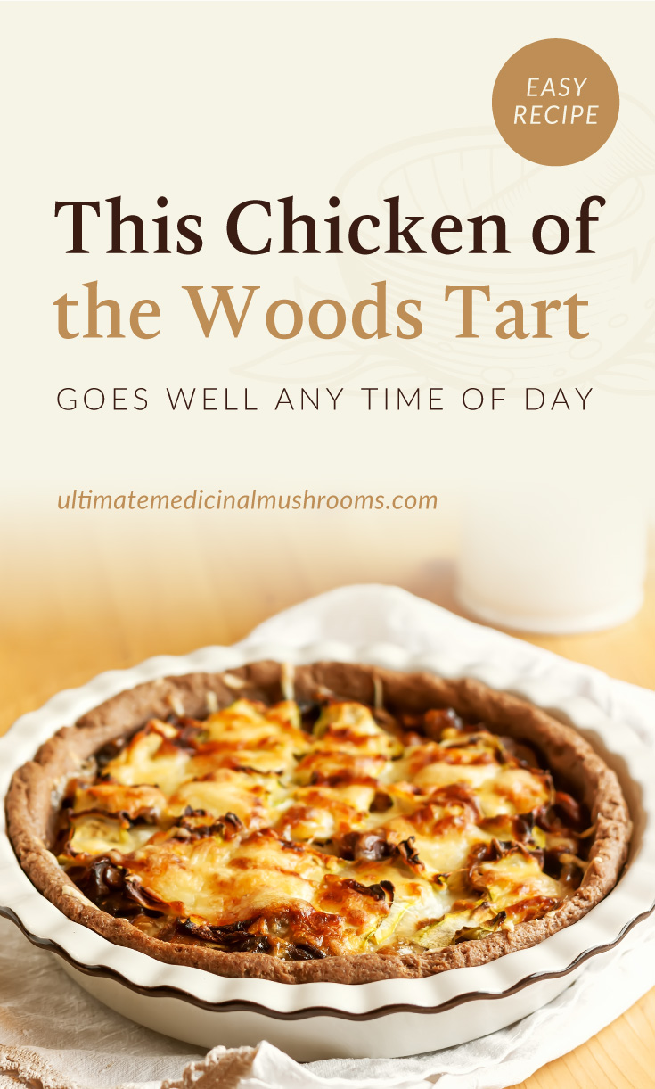"""Text area which says """"This Chicken of the Woods Tart Goes Well Any Time of Day, ultimatemedicinalmushrooms.com"""" followed by a chicken of the woods tart in a deep dish plate"""