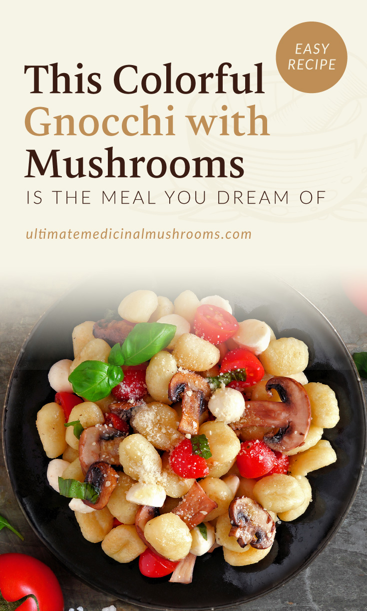 """Text area which says """"This Colorful Gnocchi With Mushrooms Is The Meal You Dream Of, ultimatemedicinalmushrooms.com"""" followed by a photo of a gnocchi dish with mushrooms and tomatoes served on a black dish"""