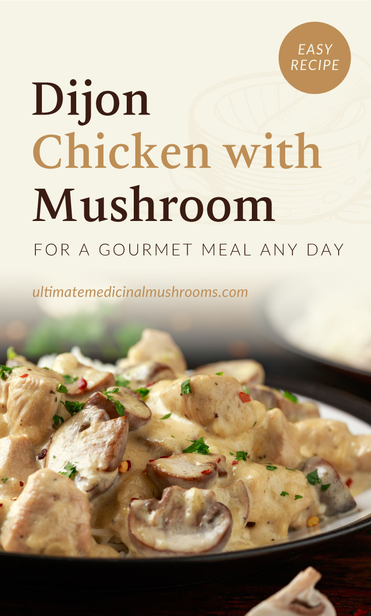 """Text area which says """"Dijon Chicken with Mushroom For A Gourmet Meal Any Day, ultimatemedicinalmushrooms.com"""" followed by a close-up view of a creamy dijon chicken and mushroom dish"""