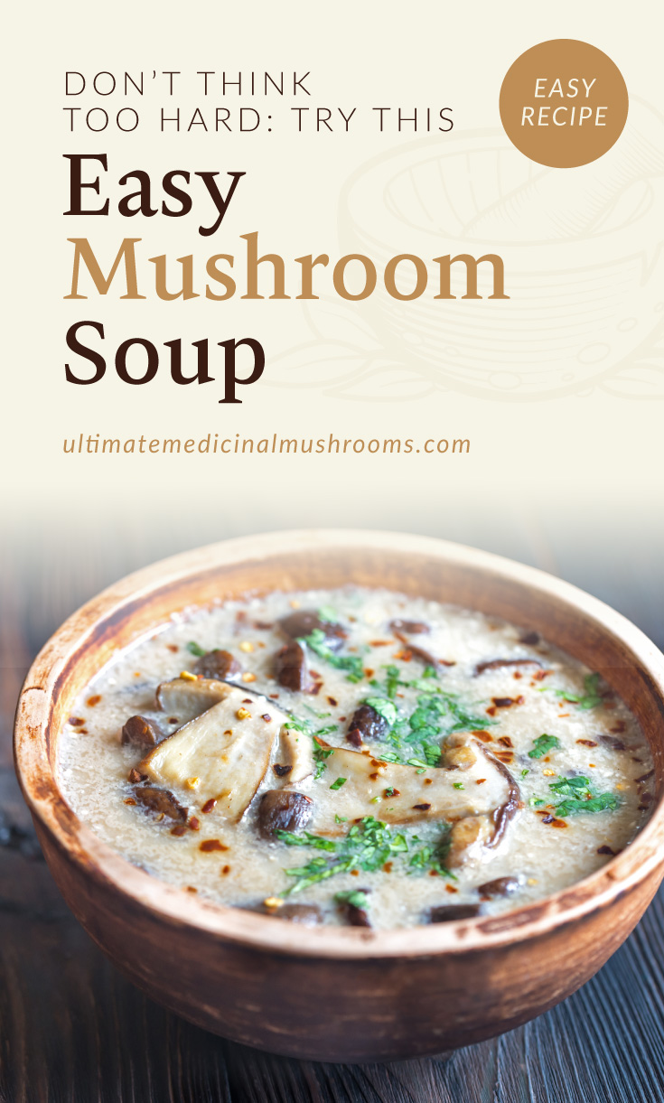 """Text area which says """"Don't Think Too Hard: Try This Easy Mushroom Soup, ultimatemedicinalmushrooms.com"""" followed by a photo of a bowl of creamy mushroom soup"""
