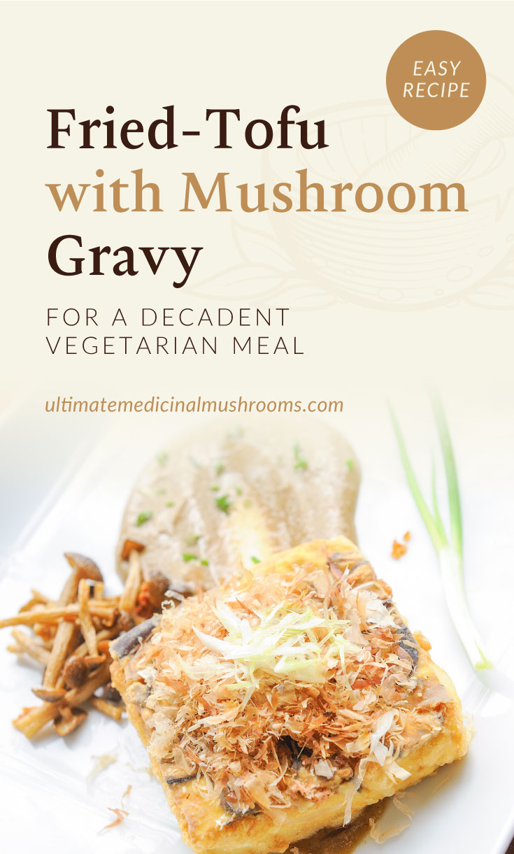 """Text area which says """"Fried-Tofu with Mushroom Gravy For A Decadent Vegetarian Meal, ultimatemedicinalmushrooms.com"""" followed by a close-up view of a slice of fired tofu served with mushrooms and gravy"""