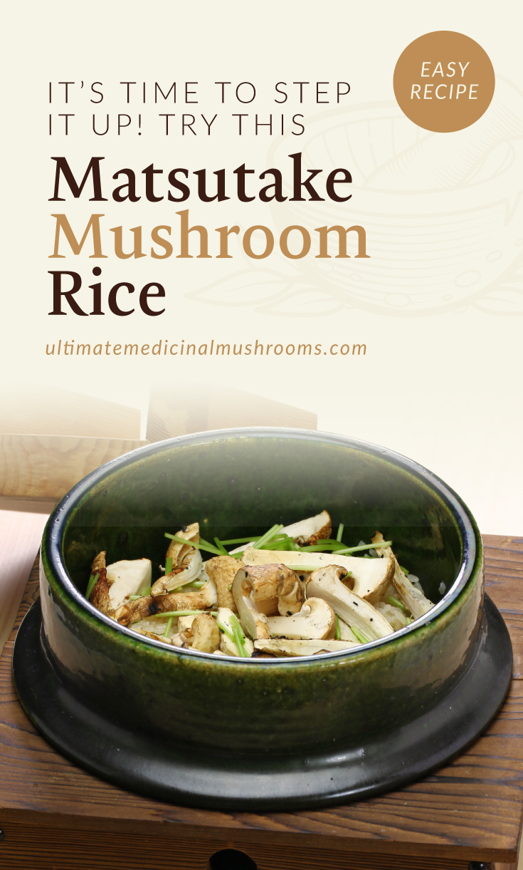 """Text area which says """"It's Time to Step It Up! Try This Matsutake Mushroom Rice, ultimatemedicinalmushrooms.com"""" followed by a photo of a rice bowl with matsutake mushroom toppings"""