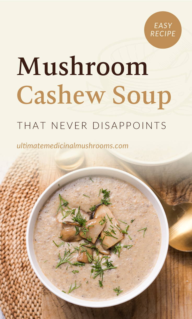 """Text area which says """"Mushroom Cashew Soup That Never Disappoints, ultimatemedicinalmushrooms.com"""" followed by top view of a bowl of mushroom cashew soup with mixed mushroom toppings and garnish"""