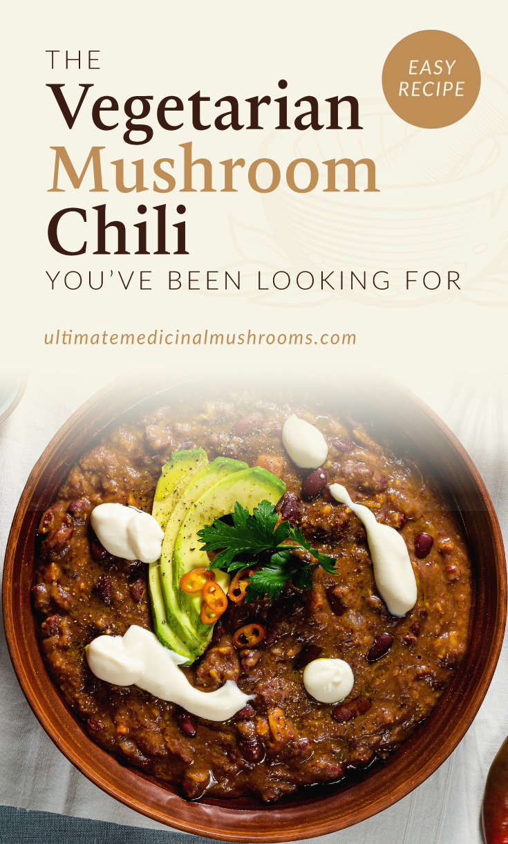 """Text area which says """"The Vegetarian Mushroom Chili You've Been Looking For ultimatemedicinalmushrooms.com"""" followed by a photo of a bowl of vegetarian chili"""