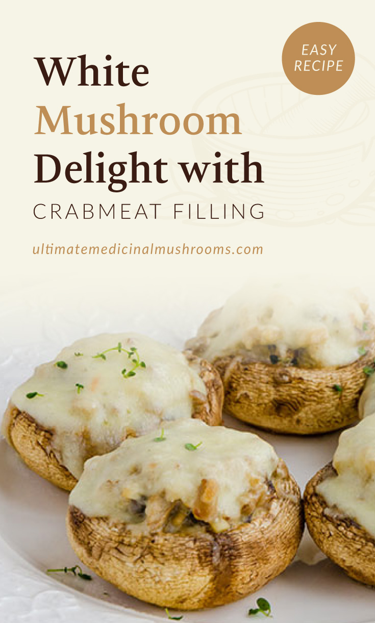 """Text area which says """"White Mushroom Delight with Crabmeat Filling, Easy Recipe,ultimatemedicinalmushrooms.com"""" followed by a photo of a plate of mushrooms with white sauce and filling"""