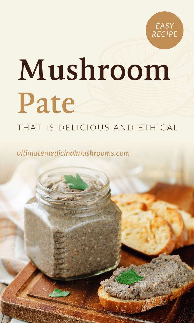 """Text area which says """"Mushroom Pate That Is Delicious and Ethical, ultimatemedicinalmushrooms.com"""" followed by a mushroom pate in a jar served with toasts on a wooden board"""
