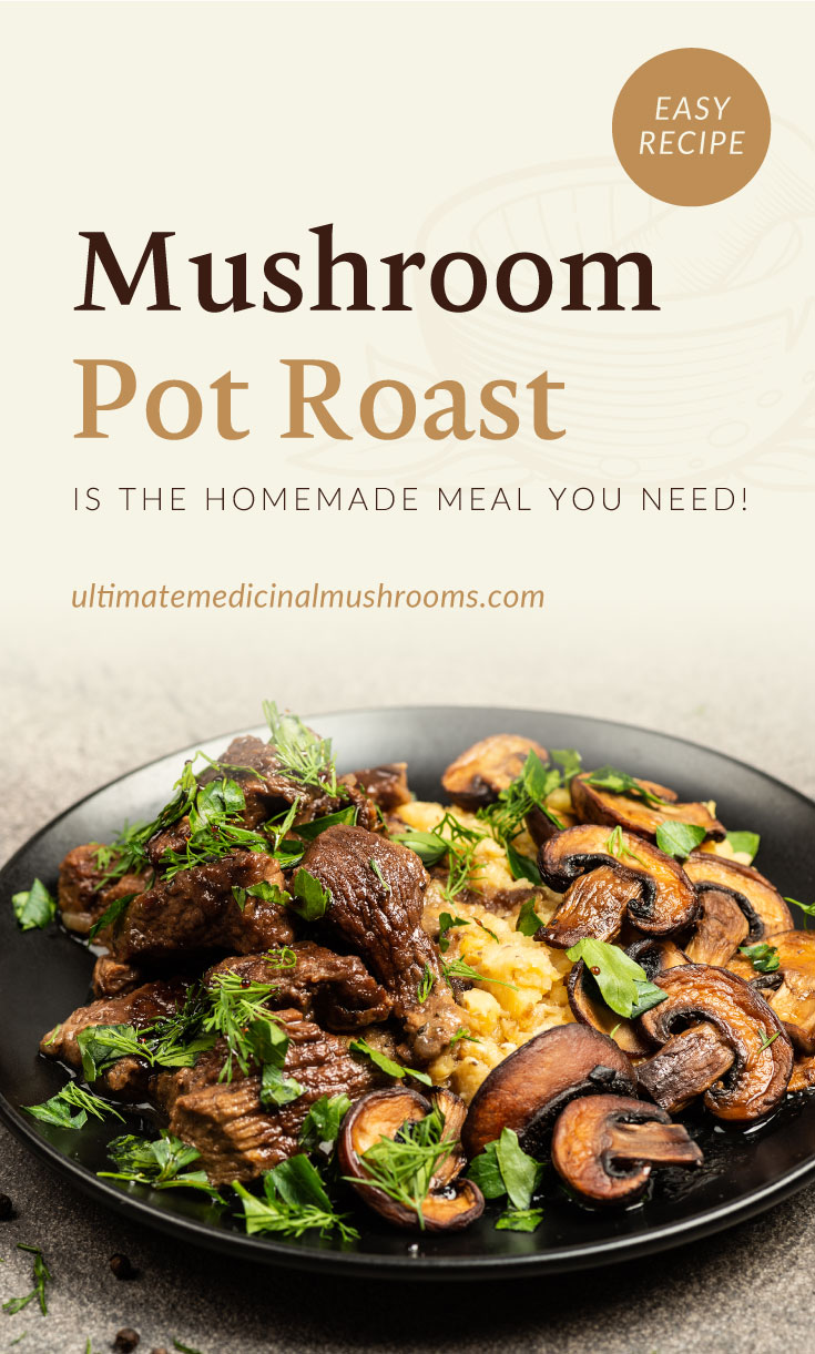 """Text area which says """"Mushroom Pot Roast Is The Homemade Meal You Need!, ultimatemedicinalmushrooms.com"""" followed by a mushroom pot roast dish topped with herbs on a black plate"""