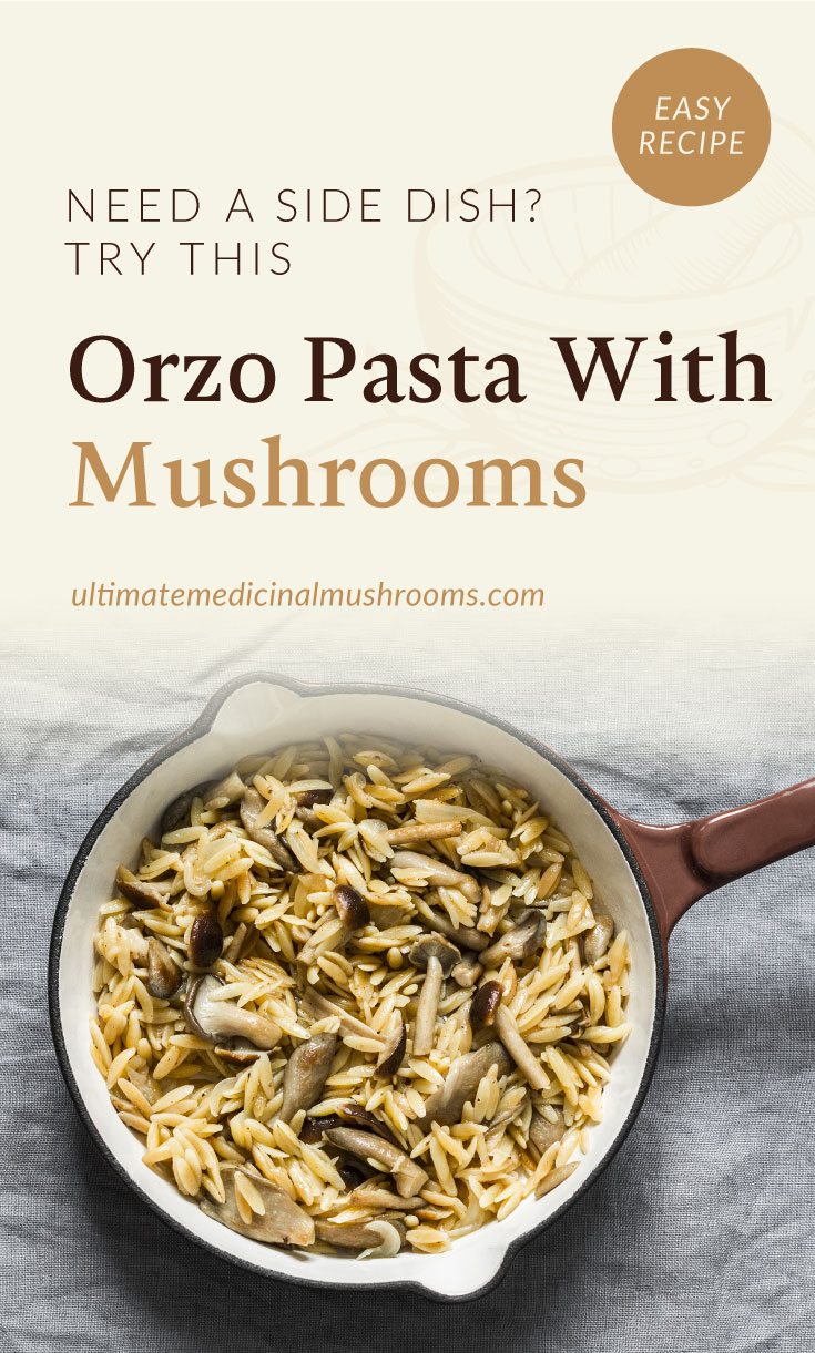 """Text area which says """"Need A Side Dish? Try This Orzo Pasta With Mushrooms, ultimatemedicinalmushrooms.com"""" followed by a top view of orzo pasta with mushrooms in a pan"""