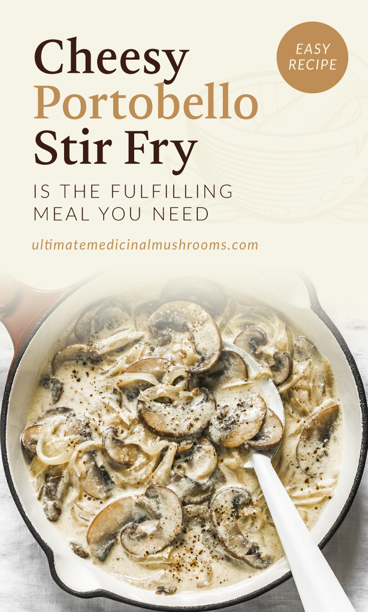 """Text area which says """"Cheesy Portobello Stir Fry Is The Fulfilling Meal You Need ultimatemedicinalmushrooms.com"""" followed by a photo of a pan with a cheesy mushroom dish"""