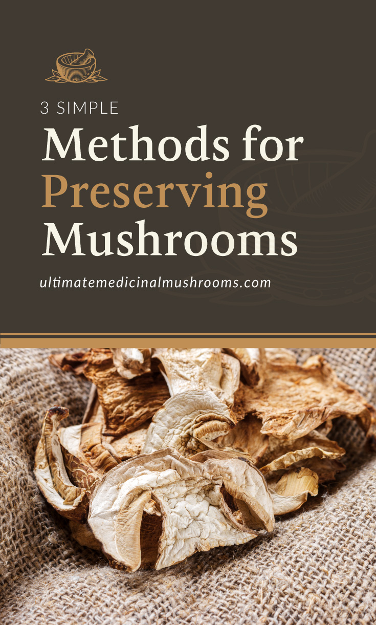 """Text area which says """"3 Simple Methods for Preserving Mushrooms , ultimatemedicinalmushrooms.com"""" followed by a photo of dried mushrooms"""