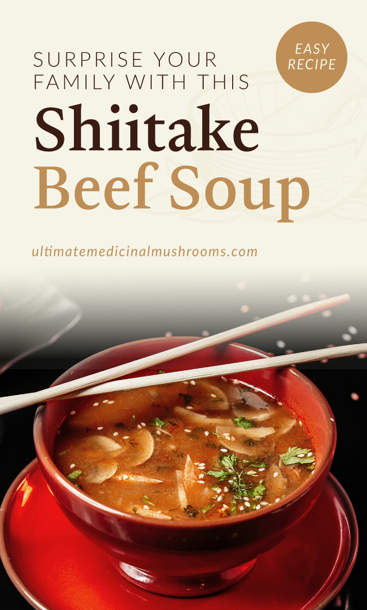 """Text area which says """"Surprise Your Family With This Shiitake Beef Soup , ultimatemedicinalmushrooms.com"""" followed by a photo of a bowl of beef and mushroom soup"""
