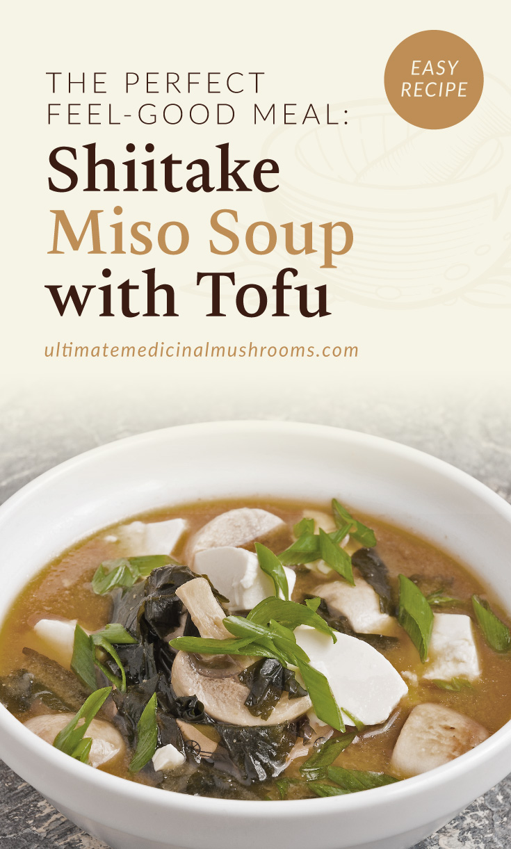 """Text area which says """"The Perfect Feel-Good Meal: Shiitake Miso Soup With Tofu , ultimatemedicinalmushrooms.com"""" followed by a photo of a bowl of miso soup with shiitake mushrooms and tofu"""