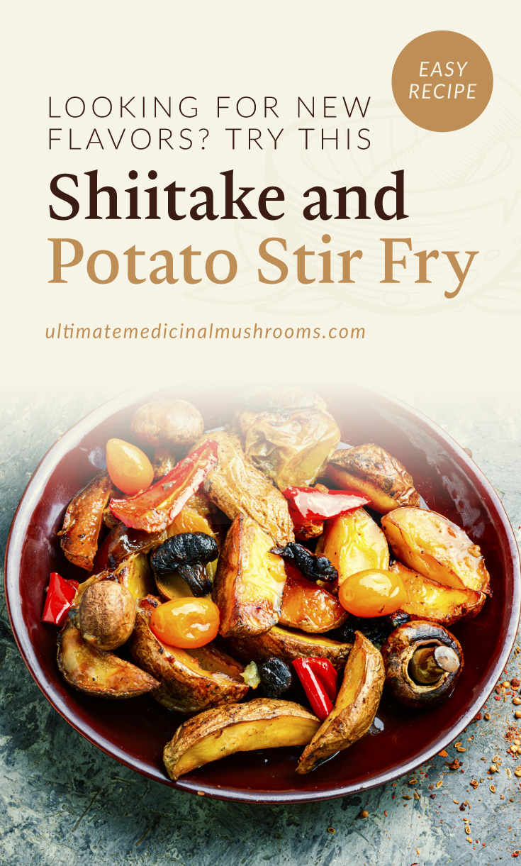 """Text area which says """"Looking For New Flavors? Try This Shiitake and Potato Stir Fry , ultimatemedicinalmushrooms.com"""" followed by a photo of a potato, mushrooms and vegetable stir-fry dish on a plate"""