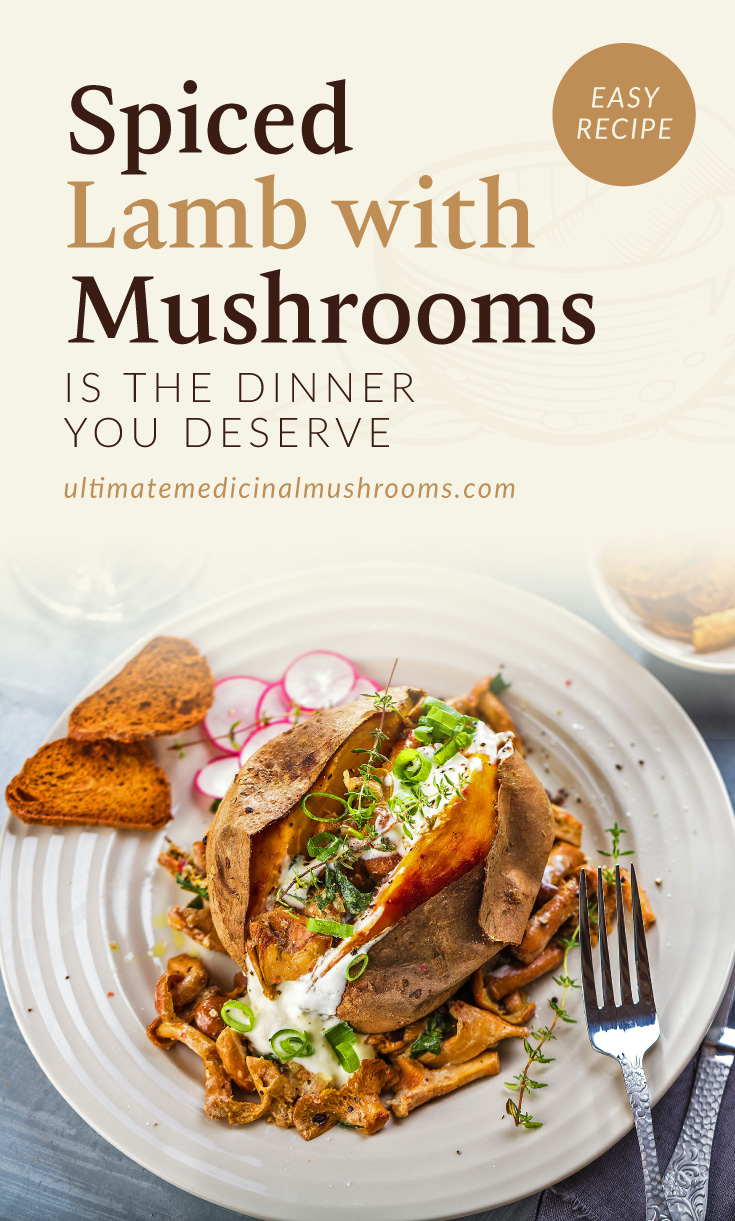 """Text area which says """"Spiced Lamb With Mushrooms Is The Dinner You Deserve ultimatemedicinalmushrooms.com"""" followed by a photo of a sweet potato dish with mushrooms and ground lamb"""