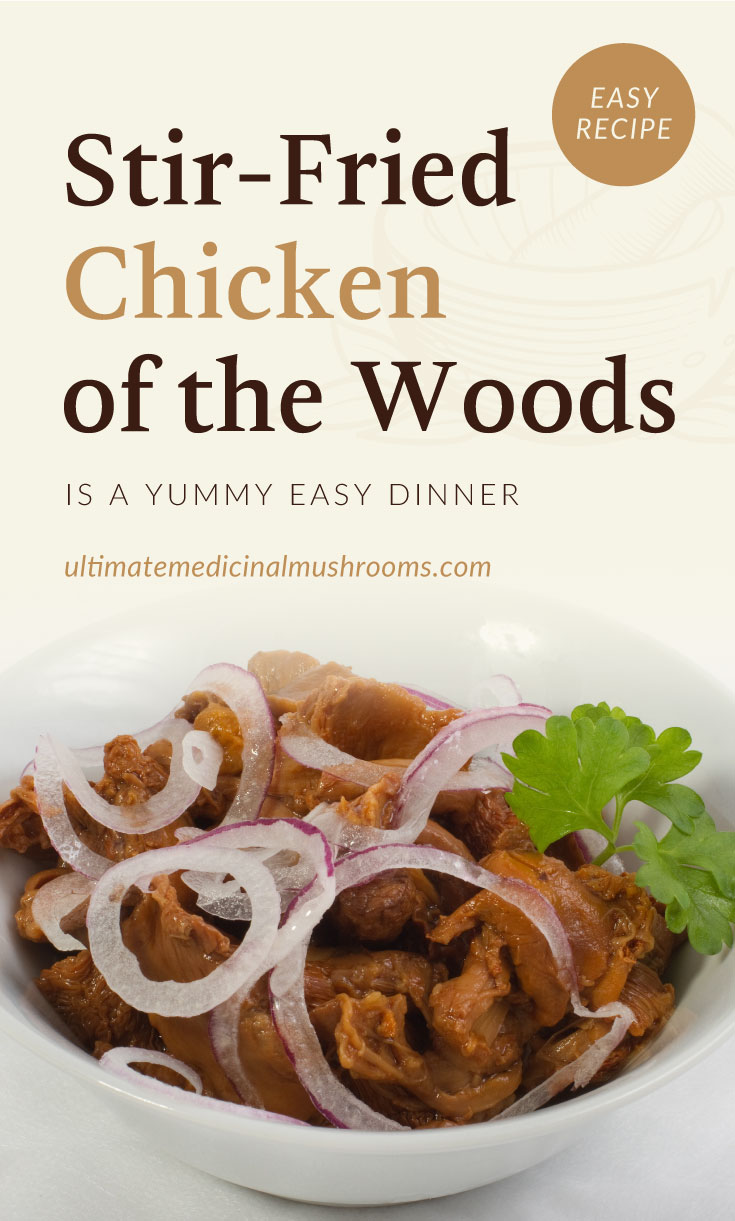 """Text area which says """"Stir-Fried Chicken of the Woods Is A Yummy Easy Dinner, ultimatemedicinalmushrooms.com"""" followed by a close-up view of stir-fried chicken of the woods mushroom in a bowl"""