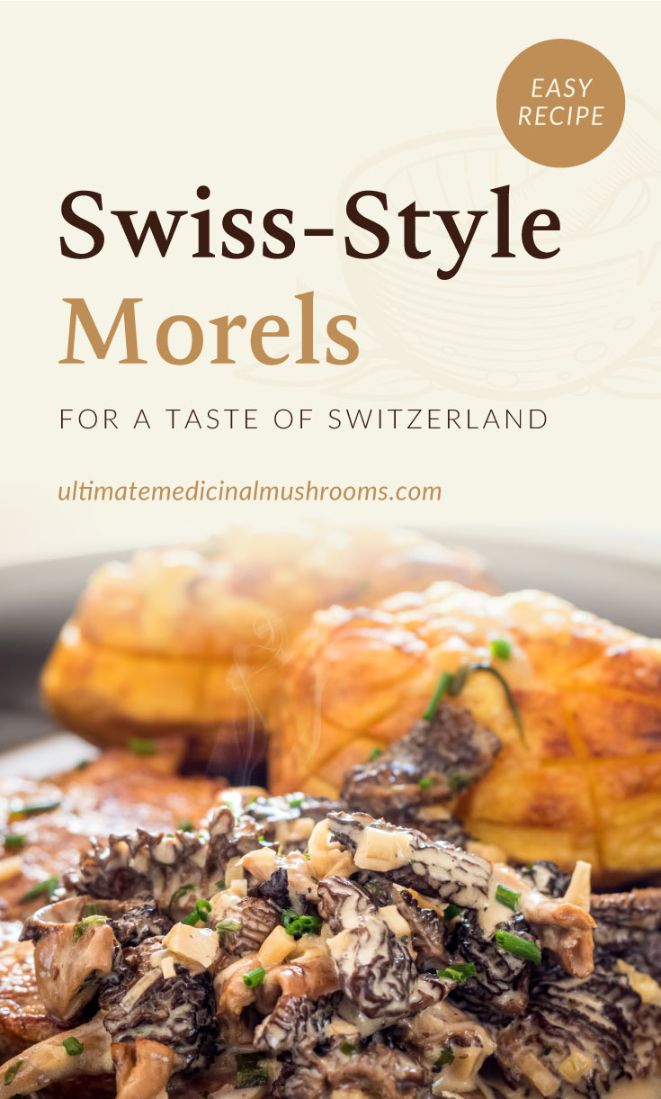 """Text area which says """"Swiss-Style Morels For A Taste Of Switzerland, ultimatemedicinalmushrooms.com"""" followed by a close-up view of a swiss-style morel mushroom dish"""