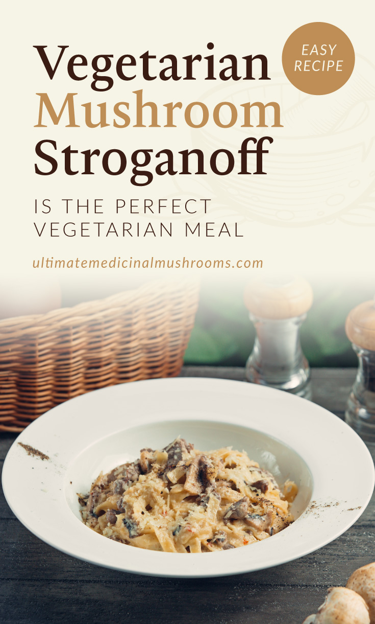 """Text area which says """"Vegetarian Mushroom Stroganoff Is The Perfect Vegetarian Meal ultimatemedicinalmushrooms.com"""" followed by a photo of a creamy ribbon pasta dish with mushrooms"""