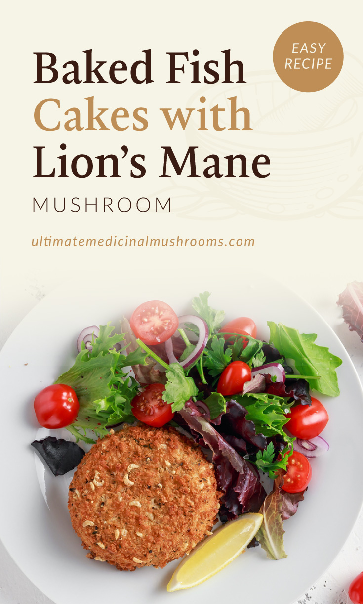 """Text area which says """"Baked Fish Cakes with Lion's Mane Mushroom, Easy Recipe, ultimatemedicinalmushrooms.com"""" followed by a photo of a plate of a baked fish cake with salad"""