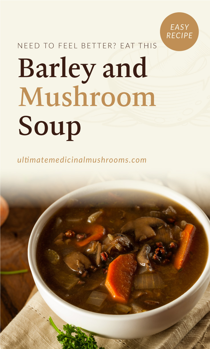 """Text area which says """"Need To Feel Better? Eat This Barley And Mushroom Soup, ultimatemedicinalmushrooms.com"""" followed by a photo of an bowl of mushroom soup with barley"""