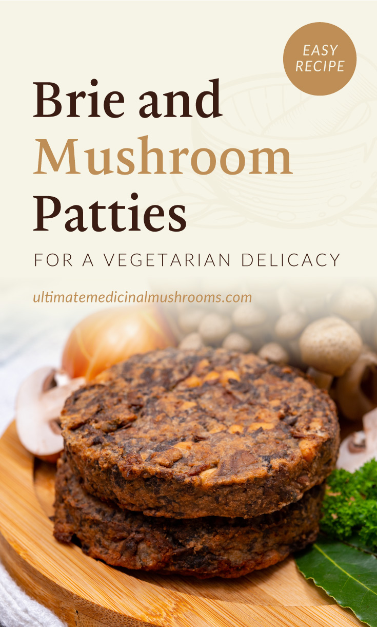 """Text area which says """"Brie and Mushroom Patties for a Vegetarian Delicacy, ultimatemedicinalmushrooms.com"""" followed by two brie and mushroom patties on top of each other surrounded by a bunch of raw mushrooms"""