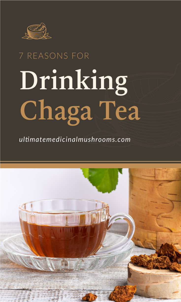 """Text area which says """"7 Reasons For Drinking Chaga Tea, ultimatemedicinalmushrooms.com"""" followed by a cup of chaga tea beside a birch stump with chaga pieces on wooden table"""