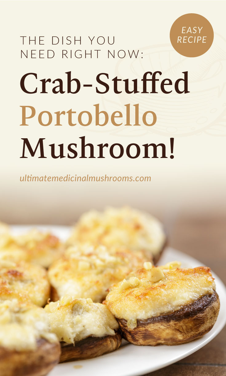 """Text area which says """"The Dish You Need Right Now: Crab-Stuffed Portobello Mushroom!, ultimatemedicinalmushrooms.com"""" followed by a close-up view of crab-stuffed portobello mushrooms on a plate"""