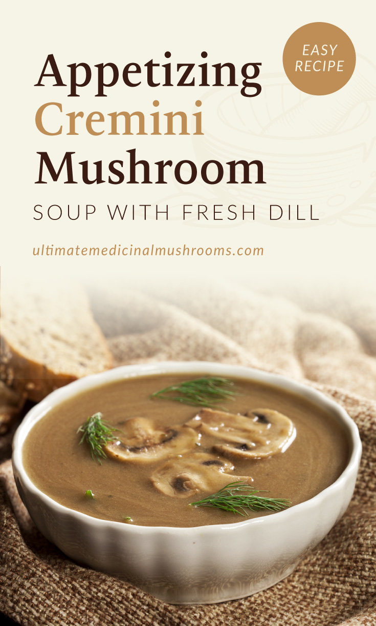 """Text area which says """"Appetizing Cremini Mushroom Soup with Fresh Dill, Easy Recipe, ultimatemedicinalmushrooms.com"""" followed by a photo of bowl of creamy mushroom soup garnished with dill"""