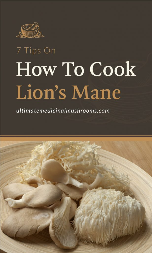 """Text area which says """"7 Tips On How To Cook Lion's Mane, ultimatemedicinalmushrooms.com"""" followed by a plate of raw lion's mane mushrooms"""