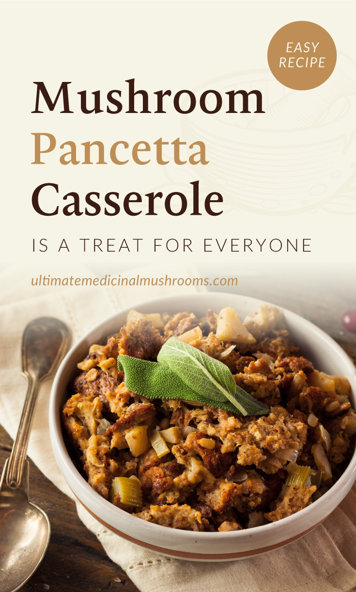 """Text area which says """"Mushroom Pancetta Casserole Is A Treat For Everyone, ultimatemedicinalmushrooms.com"""" followed by a bowl of mushroom pancetta casserole served with garnish and a spoon on one side"""