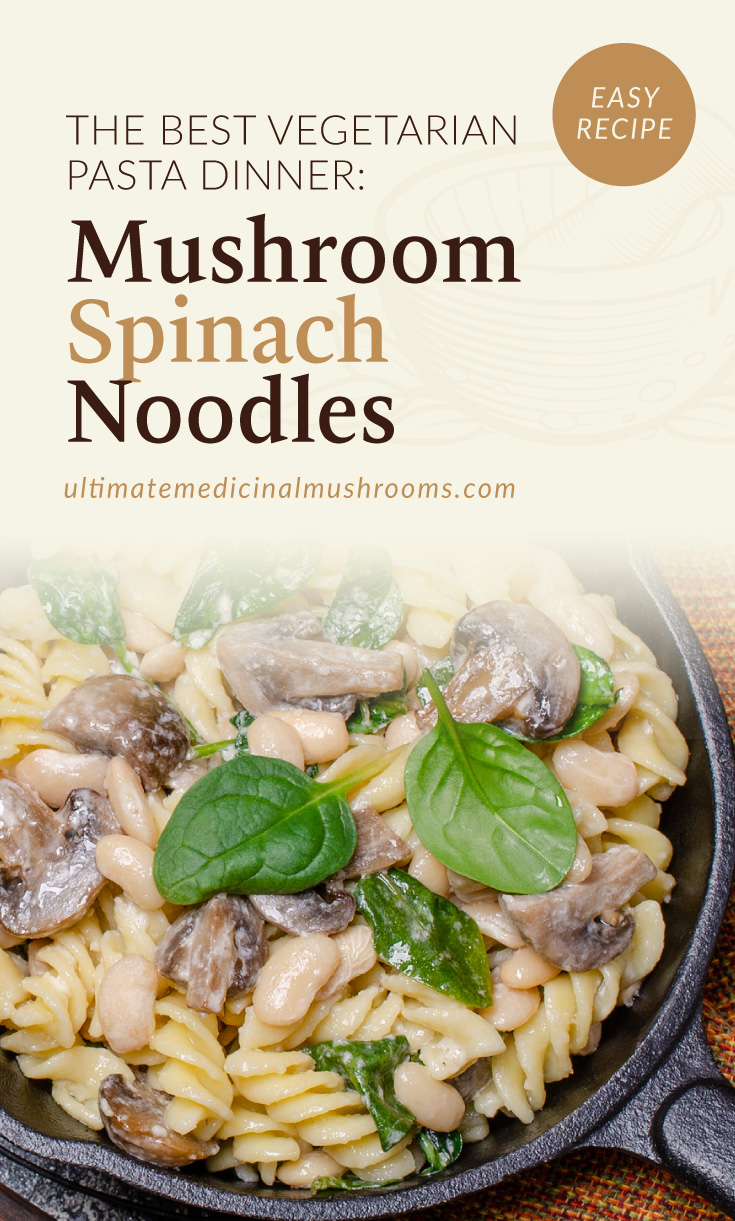 """Text area which says """"The Best Vegetarian Pasta Dinner: Mushroom Spinach Noodles, ultimatemedicinalmushrooms.com"""" followed by a photo of a skillet of rotini pasta with mushrooms and spinach"""