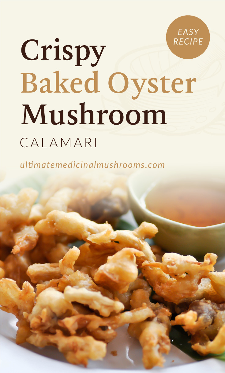 """Text area which says """"Crispy Baked Oyster Mushroom Calamari, Easy Recipe, ultimatemedicinalmushrooms.com"""" followed by a photo of a plate of crispy baked battered oyster mushroom slices"""