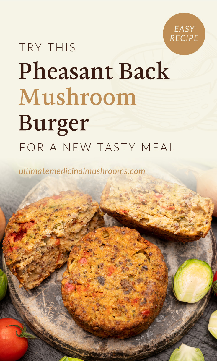 """Text area which says """"Try This Pheasant Back Mushroom Burger For A New Tasty Meal, ultimatemedicinalmushrooms.com"""" followed by a top view of a mushroom burger patties surrounded by ingredients"""