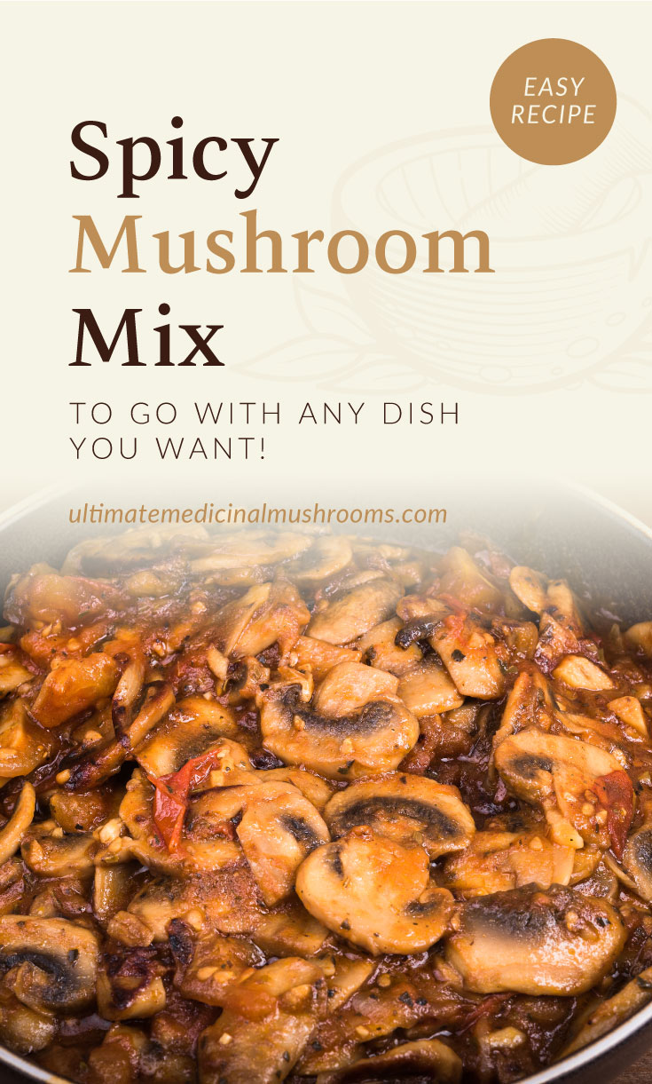 """Text area which says """"Spicy Mushroom Mix to Go with Any Dish You Want!, ultimatemedicinalmushrooms.com"""" followed by a close-up view of stir-fried mixed mushrooms with chili pastes and sauces"""