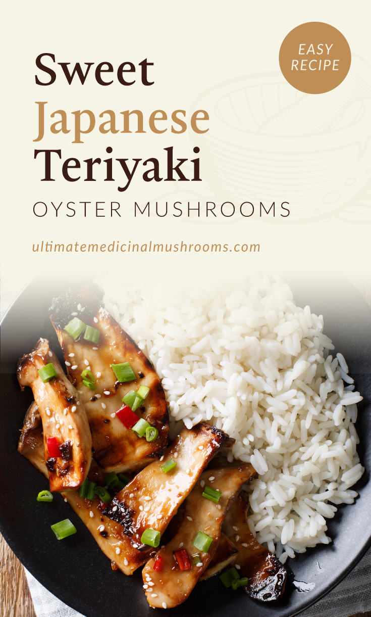 """Text area which says """"Sweet Japanese Teriyaki Oyster Mushrooms, Easy Recipe, ultimatemedicinalmushrooms.com"""" followed by a photo of plate of oyster mushroom teriyaki dish with a side of white rice"""