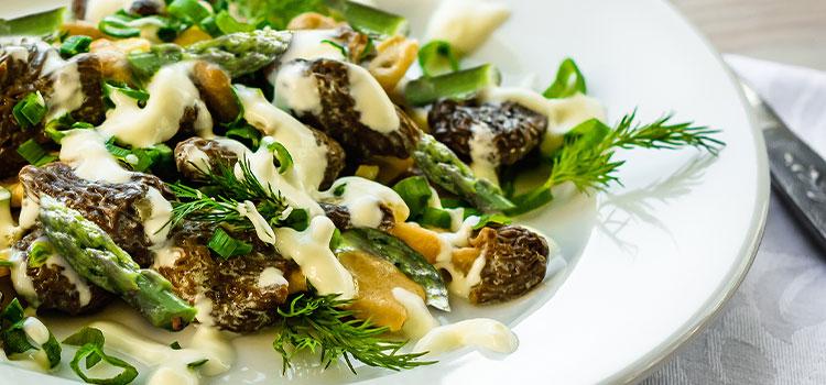 Stir-Fried Asparagus and Morels in Hollandaise Sauce